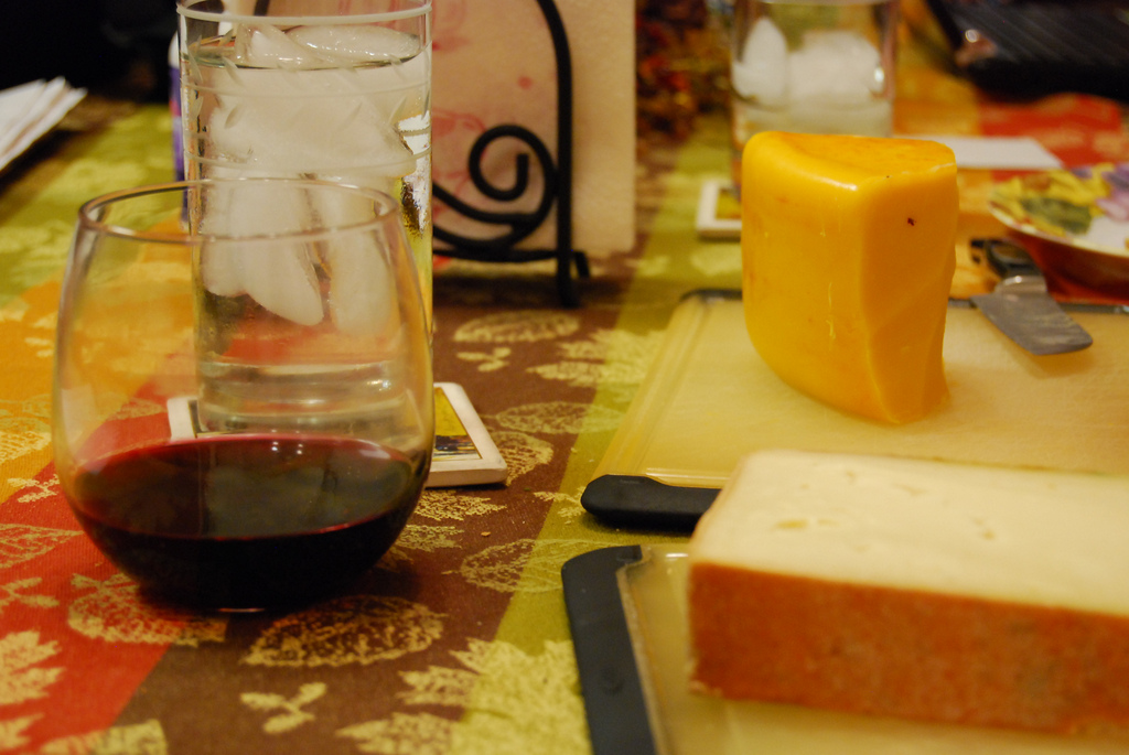 English Applewood Cheddar, Italian Fontina, accompanied by 2009 Beaujolais